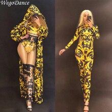 Nouveau Sexy femmes scène or combinaison manteau 3D impression body discothèque fête danseur chanteur scène vêtements chanteur costume pour femme