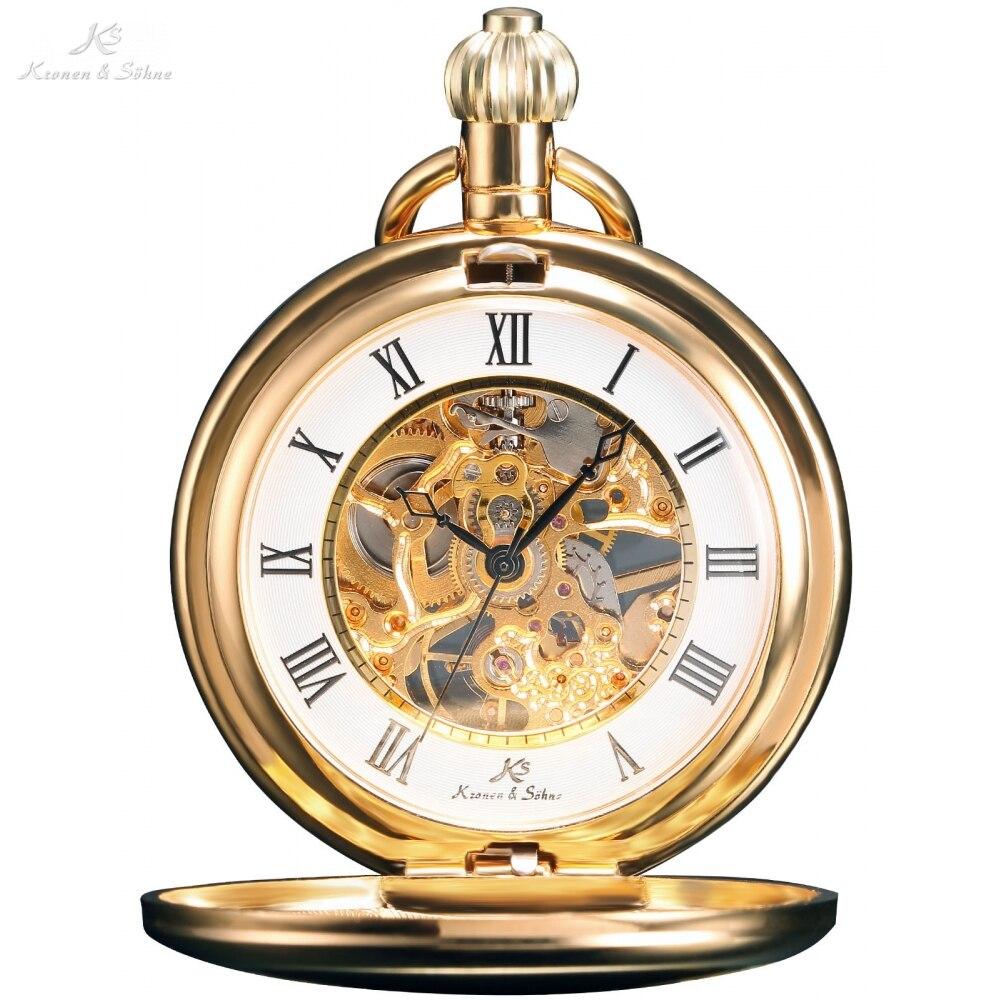 KS clásico steampunk relojes cuerda manual números romanos dorados Vintage FOBS colgante cadena Reloj de bolsillo mecánico REGALO/KSP008