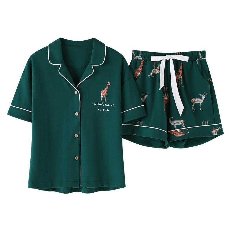 Пижамный комплект Женский Летний свободного покроя с шортами и эластичным поясом