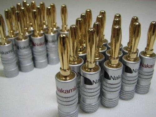 10 pçs/lote nova alta qualidade 24 k ouro nakamichi falante banana plugues cobre puro conector de áudio jack frete grátis
