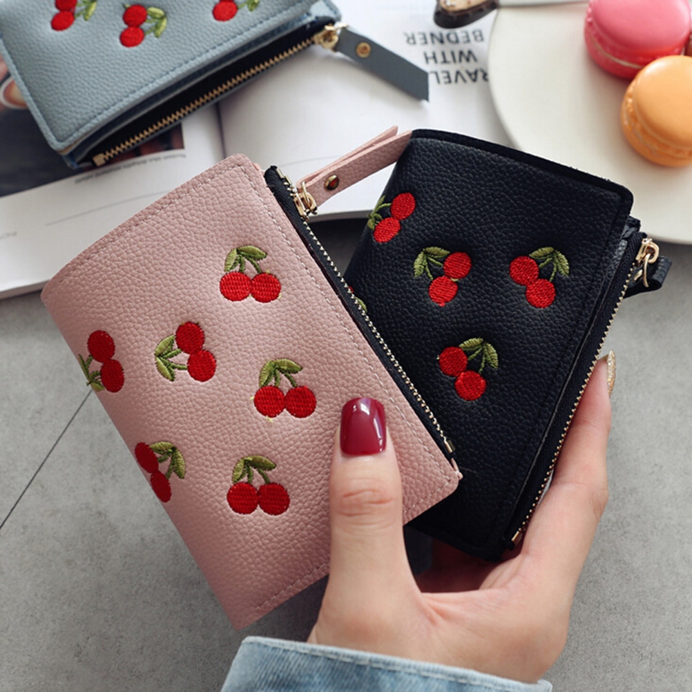 Fashion Women Girls Short Wallet Small PU Leather Cherry Embroidery Coin Purse Card Holders Lady Girl Mini Money Bag contact s fashion genuine leather women wallet small standard wallets coin bag brand design lady purse card holders red brown