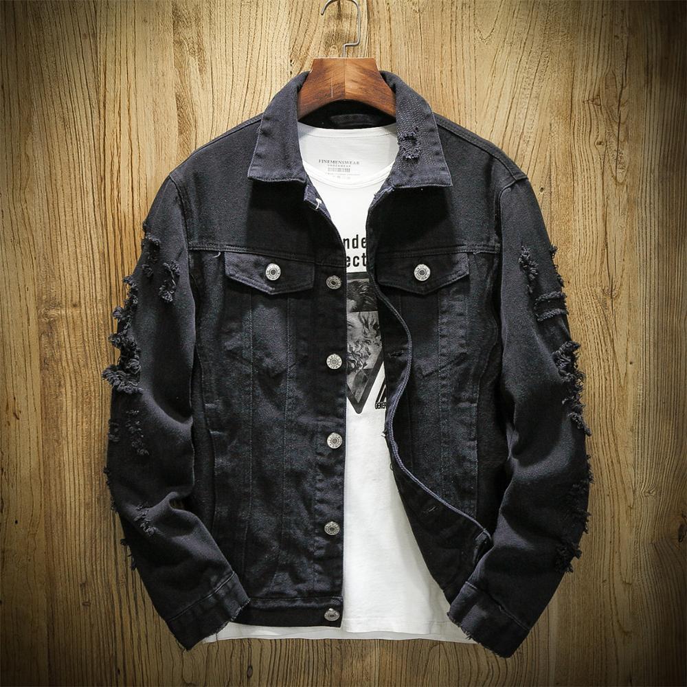 De talla grande 5XL suelto rasgado Denim negro chaqueta hombres chaqueta de primavera y autumnStreetwear Rosa rojo básicos LoverS Jeans abrigo Casual prendas de vestir