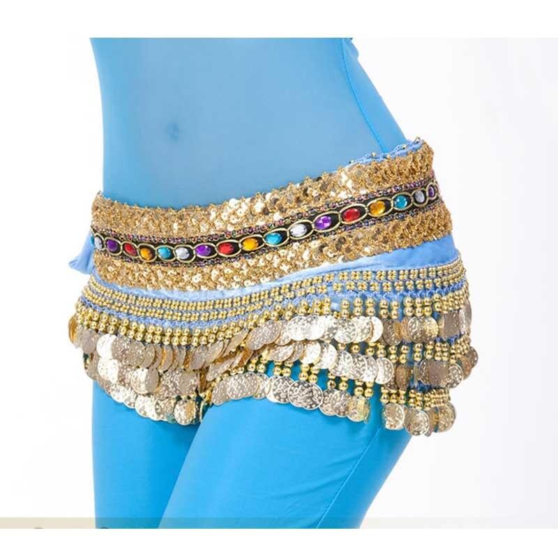 Djgrster um-tamanho de boa qualidade dança do ventre hip envolve 3 camadas moedas de ouro com diamante cinto de dança do ventre corrente