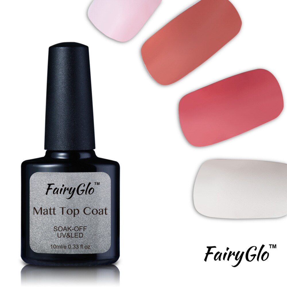 FairyGlo Top Coat 10ML Nail Gel Polish Soak Off UV LED Matt Top Coat Rubber Gel Lacquer Hybrid Varnishes Gelpolish Nagellak Glue