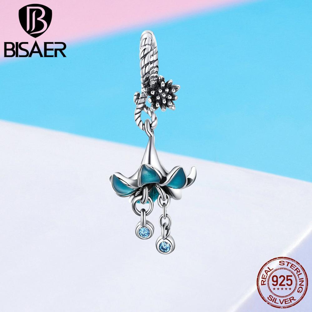 Bisaer verdadeiro 925 prata esterlina sonho flor esmalte encantos contas ajuste pulseiras femininas prata 925 jóias efc034