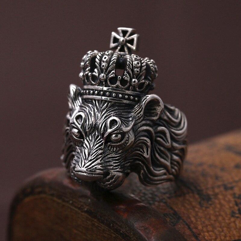 S925 joyería de plata esterlina real León poderoso anillo personalidad Thai Hombre de platas ring