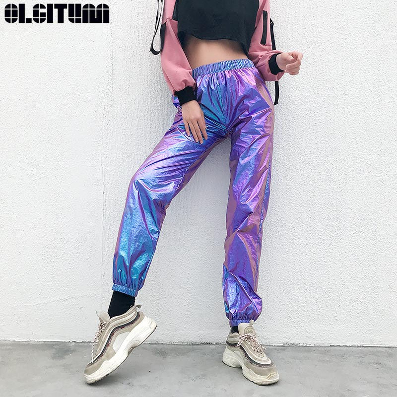 ¡Novedad! pantalones de chándal Harajuku de reflexión láser para mujer, pantalones de cintura alta informales, pantalones capri Hip Hop holográficos para mujer PT296