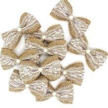 10 stücke Vintage Natürliche Jute Burlap hessischen bögen spitze band Hochzeit Dekoration rustikalen mariage jute sackleinen band bogen knoten #536840
