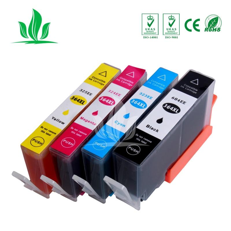 4 piezas 364XL cartuchos de tinta Compatible para HP364 364XL Photosmart inalámbrico B109a B109d B109f B109n más B209a B209c B210a impresora