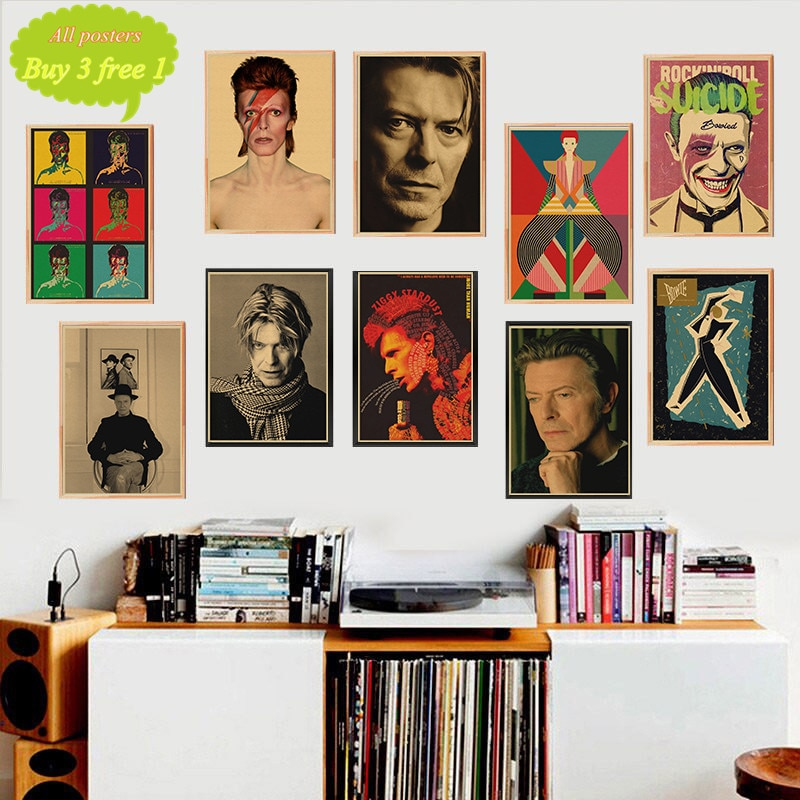 Ретро Винтаж Рок Музыка крафт-бумага плакаты Давид Боуи плакат настенные наклейки кафе бар украшение комнаты настенный Декор
