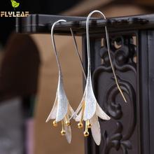 Flyleaf 925-sterling-argent fleurs longues boucles doreilles pour les femmes élégant dame prévenir lallergie argent 925 boucles doreilles mode bijoux