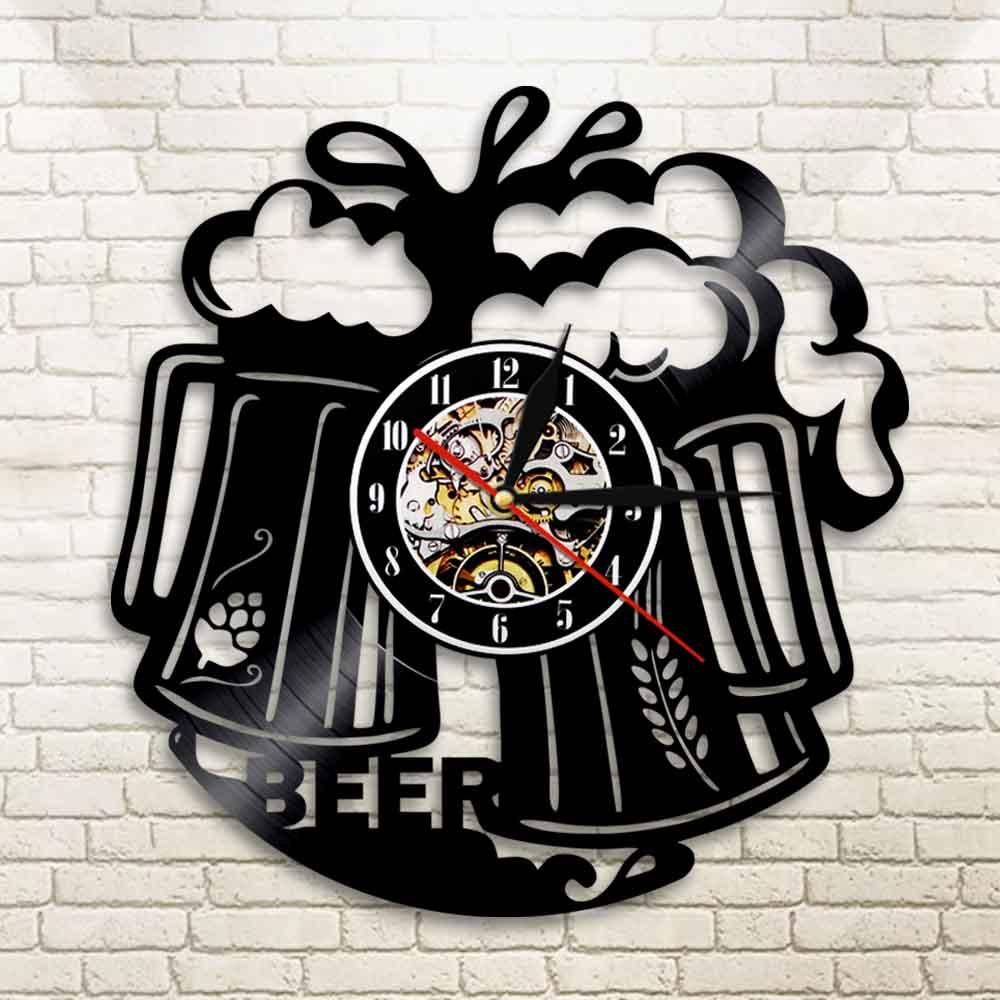 1Piece Beer Time Vinyl Record Wall Clock Pub Bar Tavern Bartender Brew Brewery Modern Wall Clock Cheers Alcohol Liquor Ale Drink