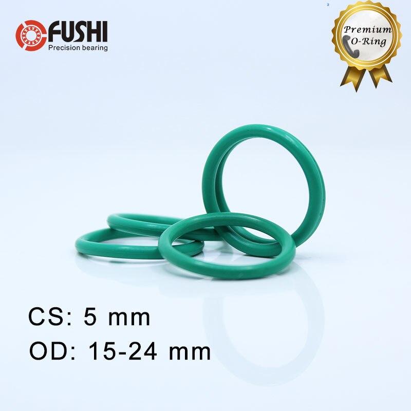 CS5mm FKM Rubber O RING OD 15/16/17/18/19/20/21/22/23/24*5 mm 100PCS O-Ring Fluorine Gasket Oil seal Green ORing