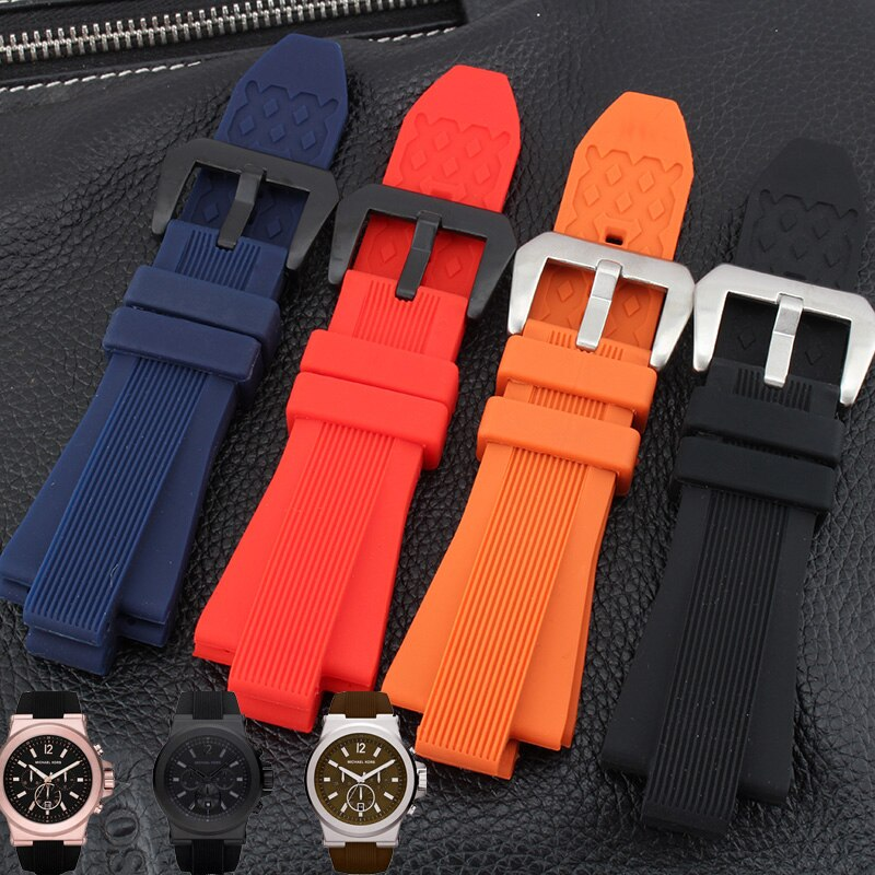 shengmeirui Waterproof rubber strap 29 * 13mm for MK watch MK8152 Black Brown Orange Diving Silicone Watchbands