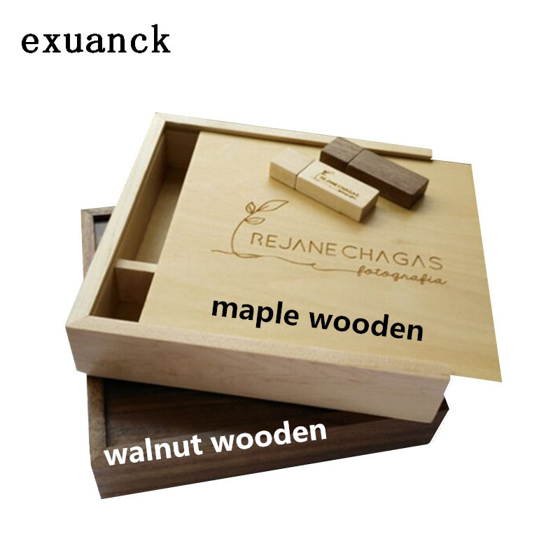 exuanck Custom Unique Album Maple/walnut Wood Box USB 3.0 Memory Pendrive Photography Wedding Studio LOGO Gift ( 170*170*35 mm)