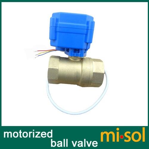 "¡Envío Gratis! Misol/1 piezas de motorizada válvula de bola de latón G3/4 ""DN20 BSP reducir puerto 2 vías, CR02, válvula eléctrica"