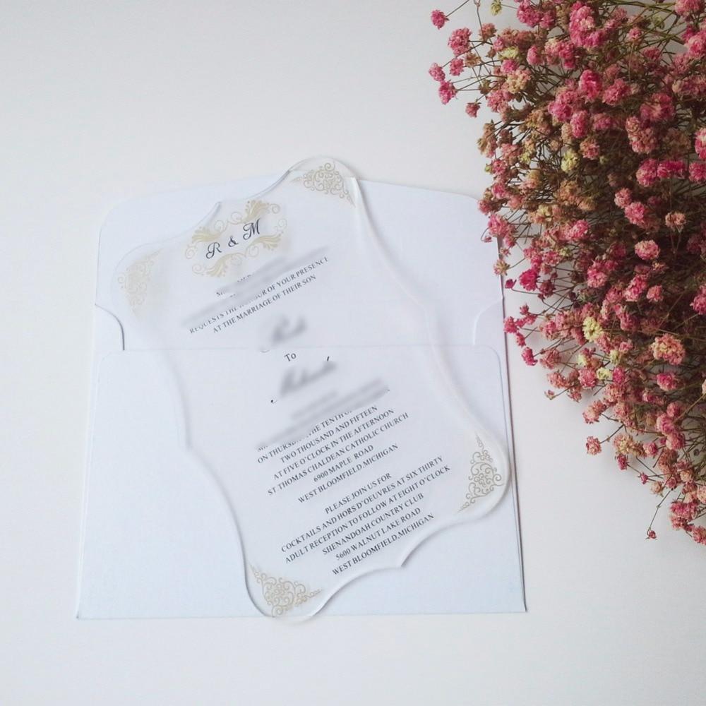 Индивидуальные 120 шт в партии королевский прокрутки формы прозрачный акриловый свадебные пригласительные карты