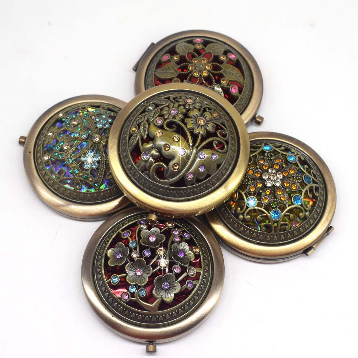 Портативное карманное мини-зеркало бронзового цвета с цветком и бриллиантом, двухстороннее складное зеркало для макияжа, винтажные косметические зеркала с бабочками