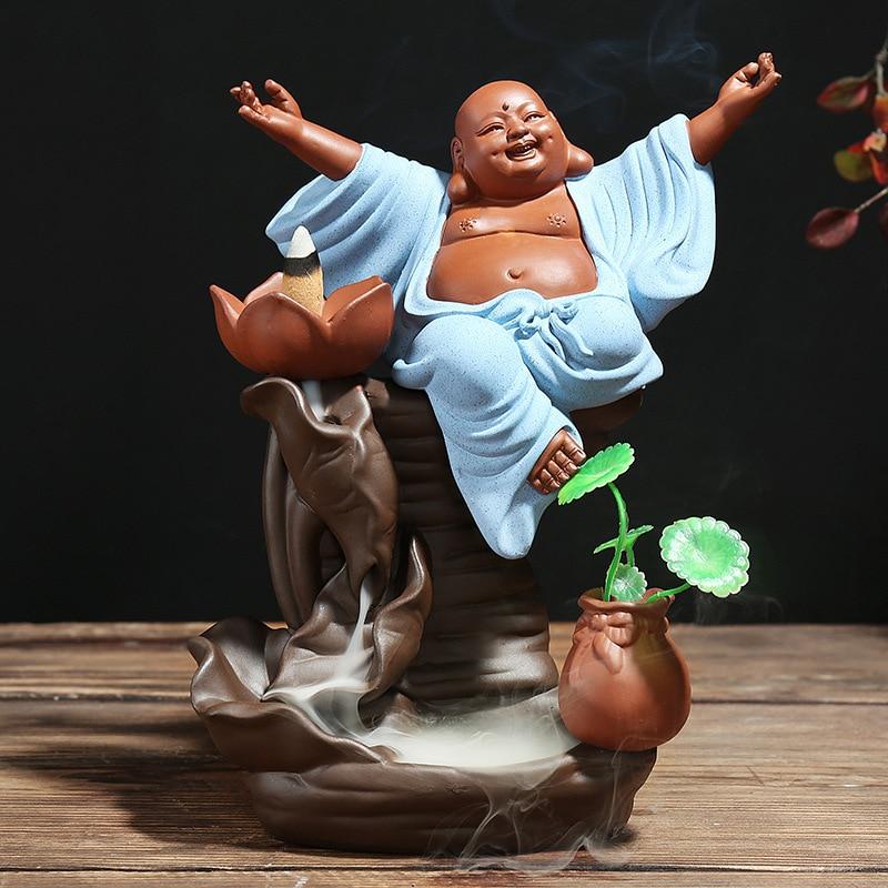 El más nuevo de gran tamaño Maitreya humo reflujo incienso quemador de Casa decoración ornamentos para regalo de bodas de flores caja para jarrón paquete