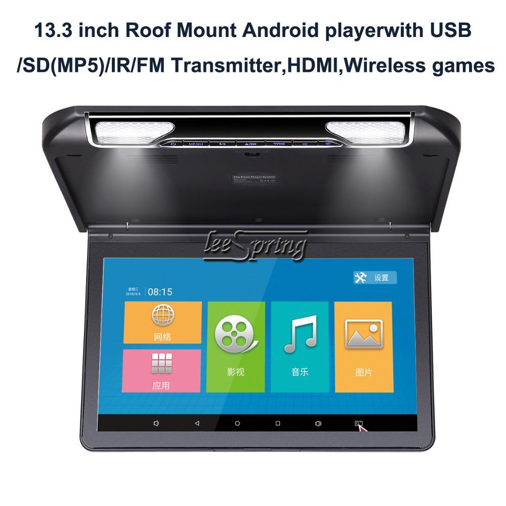Reproductor de Android HD para coche con USB/SD (MP5) con montaje en techo de 13,3 pulgadas /transmisor IR/FM, HDMI, juegos inalámbricos