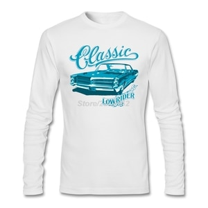 Adult Short Party T-shirts Organizer  American car Tees with Classic Lowrider Mens Lowest Price Long Sleeve T-shirt