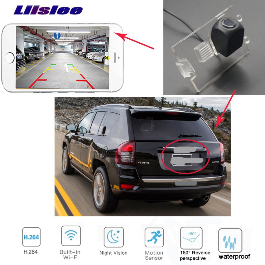 LiisLee car Rear View HD waterproof Camera For JEEP Compass 2006~2016 wireless Camera license plate camera
