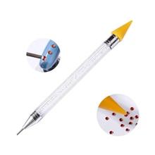 Stylo à ongles double extrémité   Perles de cristal, poignée de clous en strass, crayon de cire, outil de manucure, Art des ongles