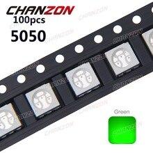 100pcs SMD Chip LED 5050 Green Surface Mount SMT Bulb DC 3.2V 60mA Light Ultra Bright Light-Emitting Diode LED Lamp fpr PCB