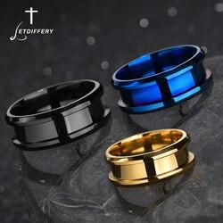 Letdiffery 8mm venda quente groove anéis azul ouro preto de alta qualidade aço inoxidável simples anel presentes festa