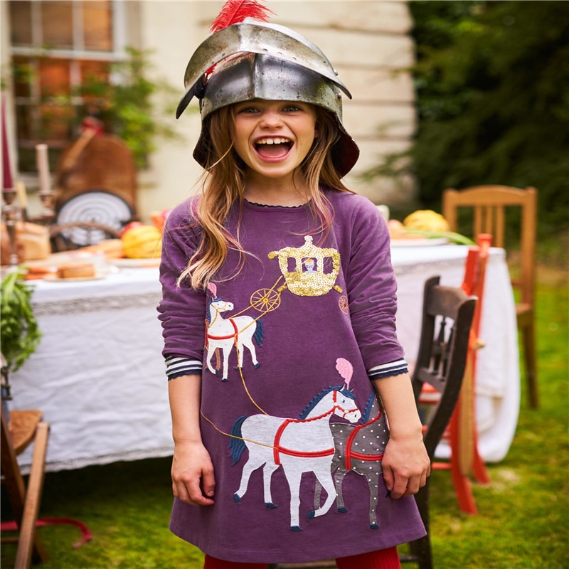 Appliques bébé vêtements robes Royal chariot coton enfants robe dautomne vente chaude à manches longues vente chaude bébé vêtements robes