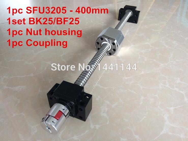 SFU3205-400 ملليمتر الكرة اللولبية مع الكرة الجوز + BK25/BF25 دعم + 3205 الجوز الإسكان + 20*14 ملليمتر اقتران