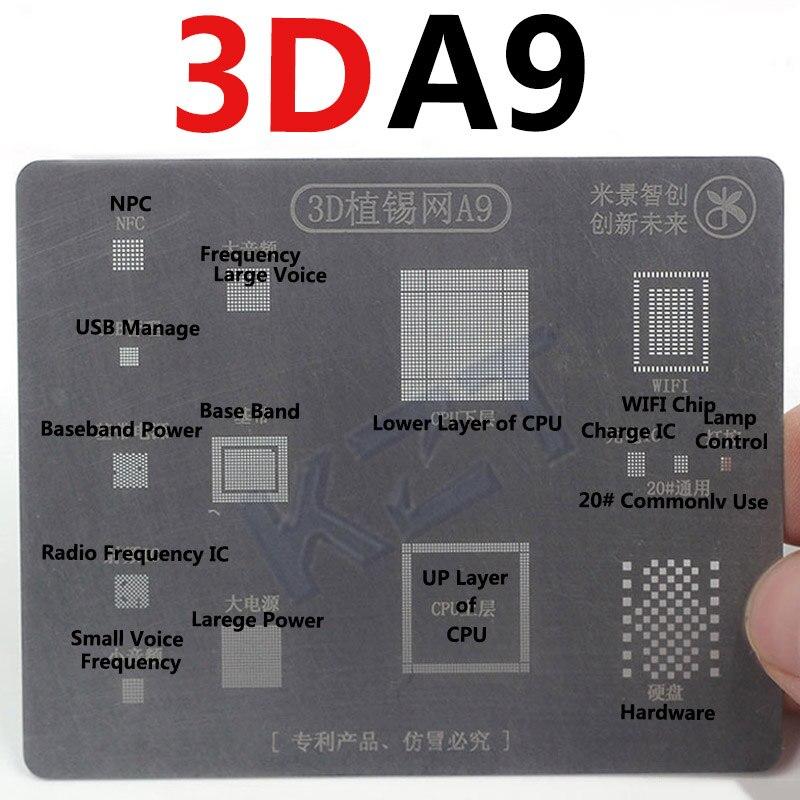 3D بغا Reball الاستنسل MJ 3D Reballing قالب ل فون A8 A9 A10 الاستنسل القصدير لوحة الأخدود القصدير الصلب مجانا الشحن