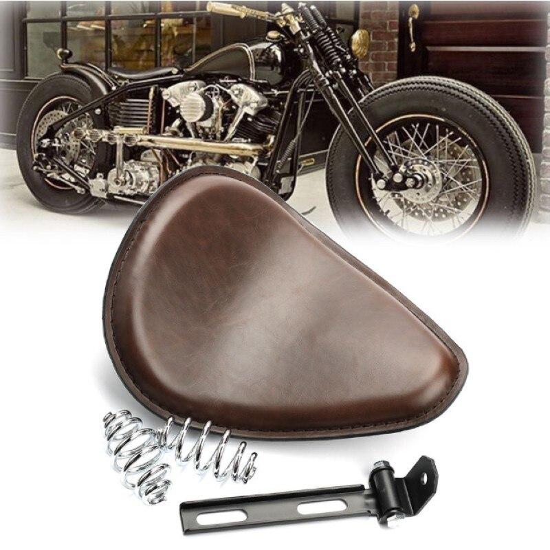 Motorrad Braun 3 Frühling SOLO Unterstützung Sitz Für Harley Chopper Bobber Kunden 883 1200 XL