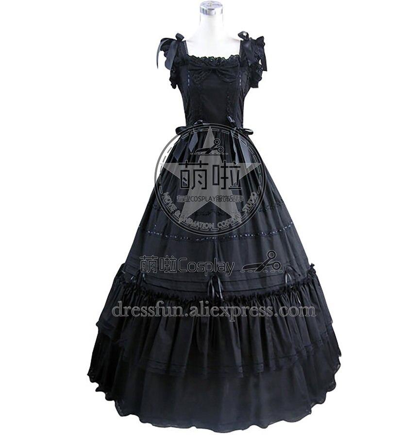 Vestido baile Lolita gótico sureño Belle vestido negro con lazo y encaje decorado magnífico para Halloween y fiesta