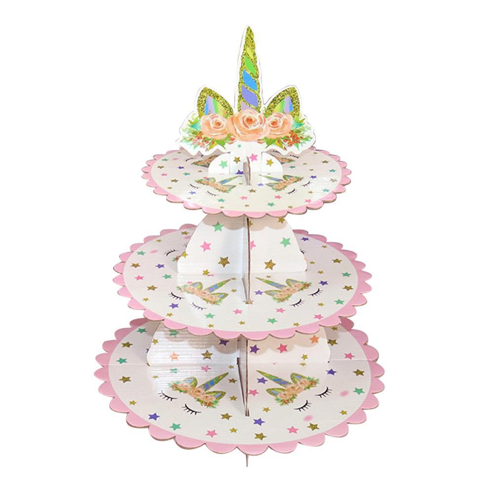 3 Nivel de cartón soporte para postres, magdalenas sostenedor de Cupcake para Baby Shower género Reveal Party lindo suministros de fiesta entrega rápida