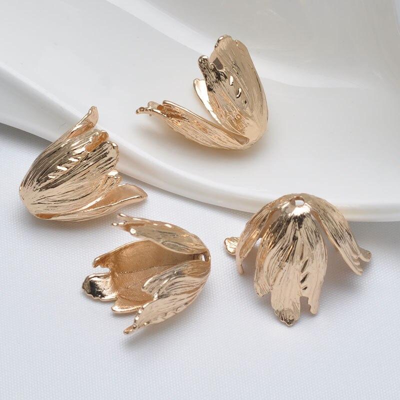 20 piezas DIY charm gold platting cuerno receptáculo bead cap accesorios 20mm tres pétalos DIY accesorios manuales