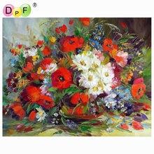 DPF-peinture à lhuile avec numéros   Peinture sans cadre sur toile, tableau mural pour salon, décoration de maison, fleur de couleurs de Paris
