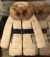 women luxurious real fur collar white duck down coatvery warm down coat women long parka retail wholesale free shipping hl727
