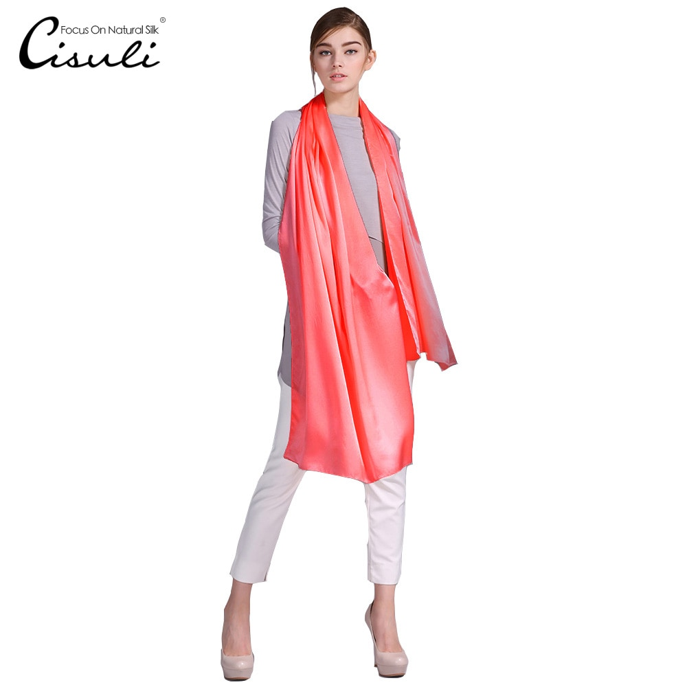 100% Silk Satin Long Scarf 55X180cm Pure Mulberry Silk Plain Color Silk Scarf Factory Direct Online Store 32 Watermelon Pink