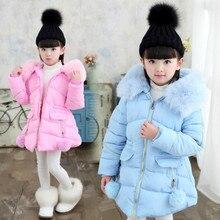 Manteau de fourrure pour filles russe   Veste dhiver chaude, à capuche, épais et Long, en coton, vêtements coréens, 2019