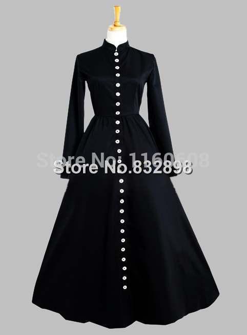 gotico preto botao na parte da frente da era vitoriana vestido de seda tailandesa