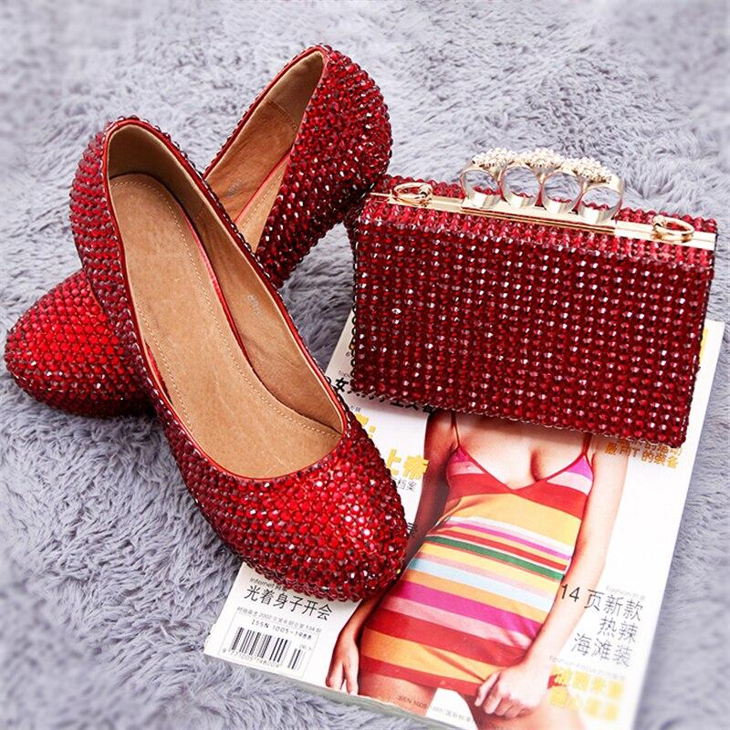 الزفاف مضخات النساء الأحذية والحقائب Matching الأحمر كريستال منصة العروس حذاء حقيبة يد محفظة عالية الكعب جلد طبيعي كبير الحجم