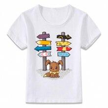 키즈 의류 티셔츠 Eevee Pokemon Evolution 소년 소녀 용 T-셔츠 유아 셔츠 Tee oal289