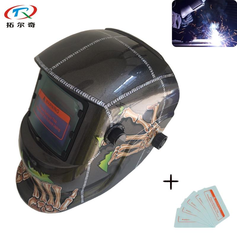 Máscara de solda mascara de solda escurecimento automático bateria energia solar cr2032 substituível longa vida TRQ-HD46-2233FF