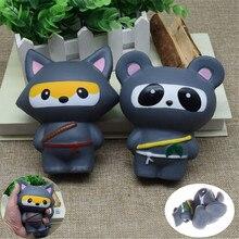 Boîte à lait/banane/chat/griffe/ours breloques animales Kawaii Buns pain clé de téléphone portable/sac sangle pendentif Ninja Panda/ours/renard