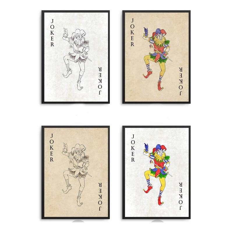 Joker-ponts de Poker cartes Vintage   Affiche en tissu et toile, peinture artistique murale, décoration de maison