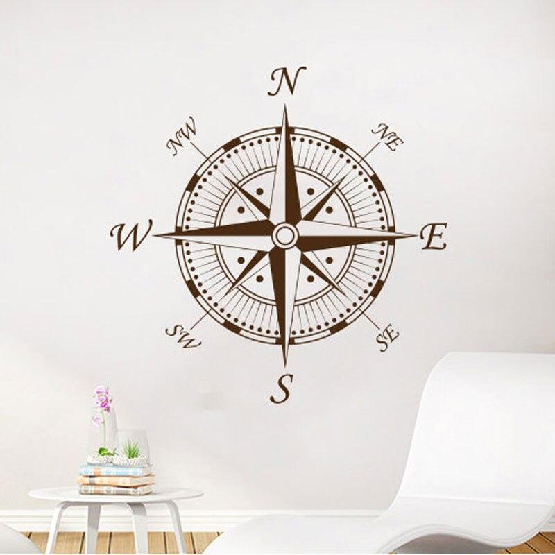 Nautical Compass Wall Decal Navigate Ship Vinyl Sticker Decals Compass Ocean Sea Living Room Bedroom Nursery Wall Deco A416
