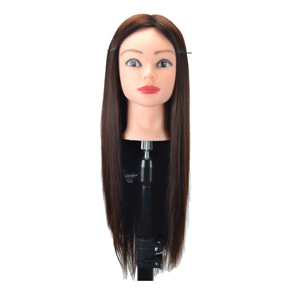 23 дюймов синтетический манекен для парикмахерских, учебная голова, Парикмахерская, Стайлинг, кукла-манекен, голова с бесплатным держателем для стола