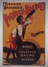 Plaques murales de Brasserie baril de bière   Blonde Brune de boutique française, plaques en étain, signes décoration, livraison directe, affiche métal 1 pièce