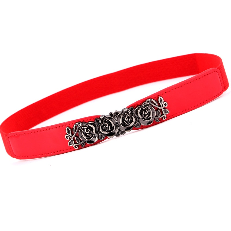 Winfox Casual negro blanco rojo cuero elástico estrecho corsé cinturones para mujeres Vintage rosa Metal hebilla cinturón